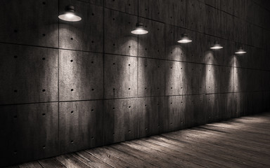 industrial grunge background illuminated ceiling lamps, large dark room with walls made of concrete and wooden floors