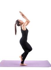portrait of asian woman wearing black body suit sitting in yoga