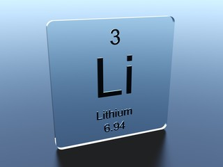 Lithium symbol on a glass square