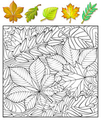 Exercises for children - needs to find and to paint the leaves. Developing skills for drawing and coloring. Vector image.