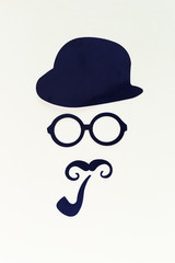 man with beard or moustache paper cutout, detective or hipster