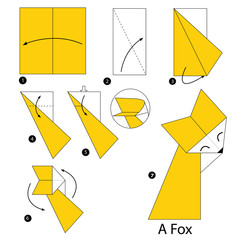 step by step instructions how to make origami A fox.