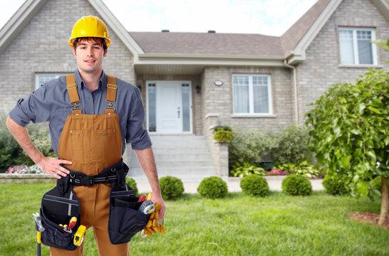 Builder handyman near new house.