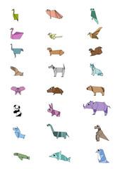 Origamies Design Animal Sets ; Vector Illustration