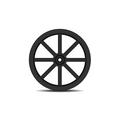 Vintage wooden wheel in black design with shadow