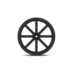 Vintage wooden wheel in black design with shadow