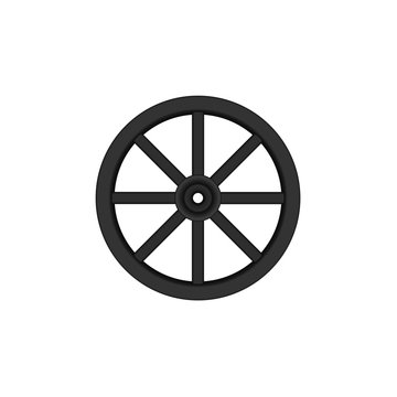 Vintage wooden wheel in black design
