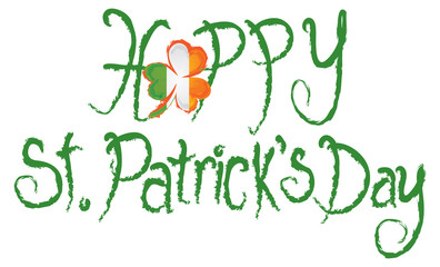 Happy St Patricks Day Shamrock Grunge Text