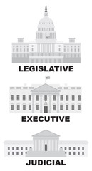 Three Branches of US Government Vector Illustration