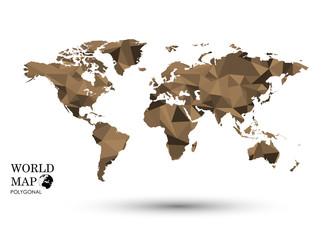 Polygonal World Map vector.
