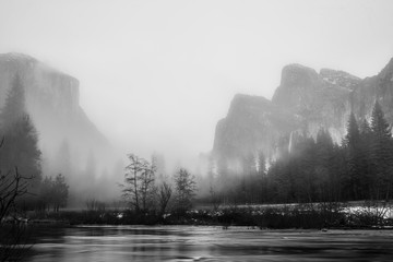 Black and White Yosemite Valley View on a Foggy Evening