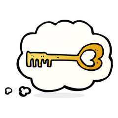 cartoon heart shaped key with thought bubble