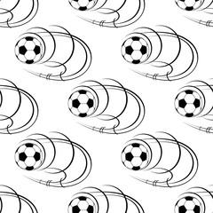 Flying soccer balls seamless pattern