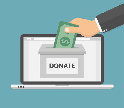 Donate online concept. Hand putting money bill in to the donation box on a laptop PC display. Flat style