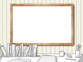 blank frame with study table
