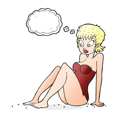 cartoon woman in swimsuit with thought bubble