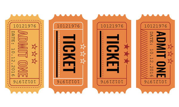 Vector set. Vintage paper admit one and ticket samples icon.