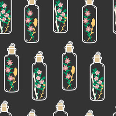 Seamless pattern with hand drawn floral terrariums. Plant pendant with dried flowers, moss and berries. Colorful vector illustration