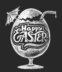 Easter cocktail. Chalk drawing