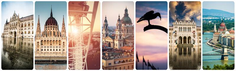 Printed kitchen splashbacks Budapest set of beautiful buildings and sights of Budapest