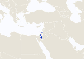 Asia with highlighted Israel map.
