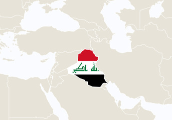 Asia with highlighted Iraq map.
