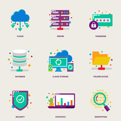 Cloud computing and network colorful vector icons set