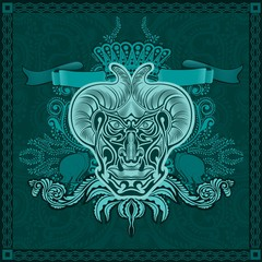 blue background from pattern and blue banner with horn face and pattern in centre