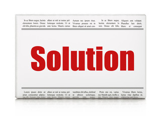 Business concept: newspaper headline Solution