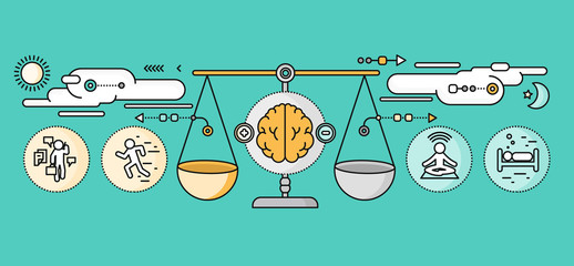 Diagnosis of Brain Psychology Flat Design
