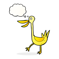 funny cartoon duck with thought bubble