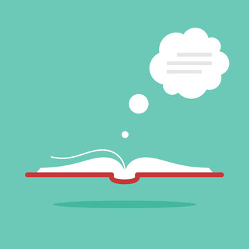 Open book with dialog bubble. Modern flat style. Vector icon