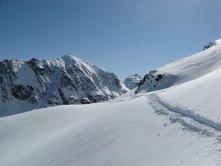 Skiing in Silvretta in Austria with family.