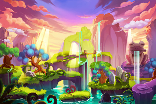 Creative Illustration and Innovative Art: Light Island. Realistic Fantastic Cartoon Style Artwork Scene, Wallpaper, Story Background, Card Design