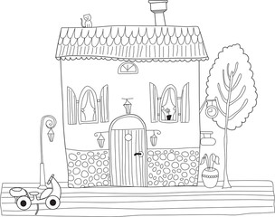 Coloring book for adult and older children. Coloring page with d