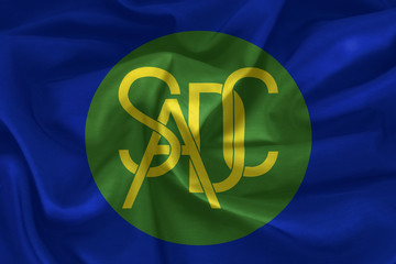 Southern African Development Community or SADC flag pattern on fabric texture