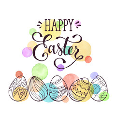 Greeting card with Easter eggs hand drawn black on white background. Happy Easter lettering. Easter eggs with ornaments with watercolor dots in pastel colors.