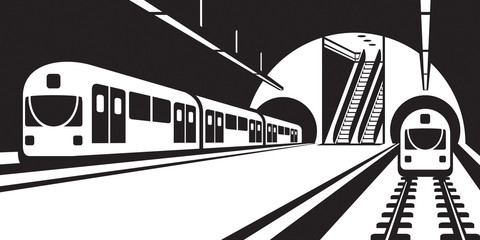 Platform of subway station with trains - vector illustration