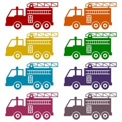 Fire truck, Fire station icons set