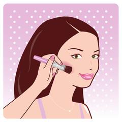 Woman applies blush on her cheeks