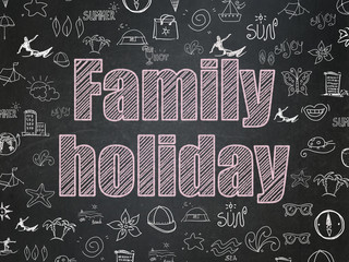 Tourism concept: Family Holiday on School Board background
