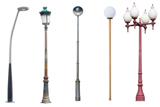 street light poles isolated on white background