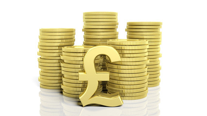 Stacks of golden coins and a Pound symbol, isolated on white background.