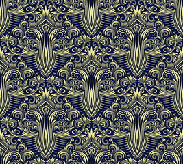 Damask seamless pattern repeating background. Yellow blue floral ornament in baroque style.