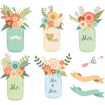Mason Jar Wedding flower Collections