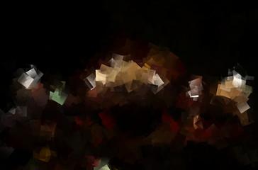 Leuchtendes Mosaik vor schwarzem hintergrund
