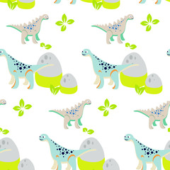 Dinosaur kid seamless vector pattern for textile print. Green and blue happy cartoon dino reptile with mount rocks on white. Baby fabric pattern.