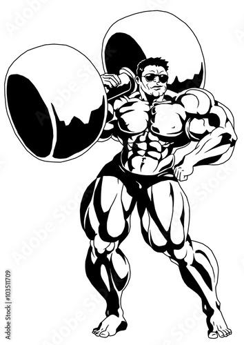 Strong Muscular Bodybuilderillustrationlogoinkblack And White