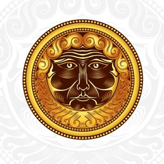 vintage background with golden beard man head in centre