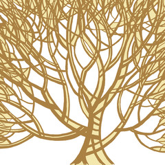 Stylized abstract brown tree. Art illustration